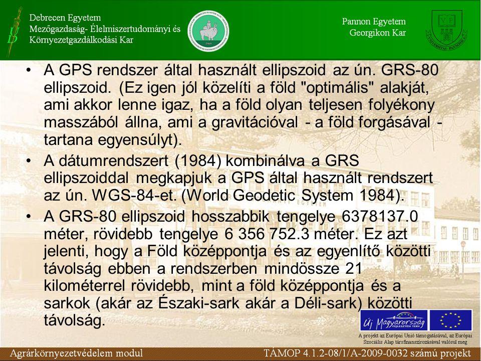 •A GPS rendszer által használt ellipszoid az ún. GRS-80 ellipszoid. (Ez igen jól közelíti a föld