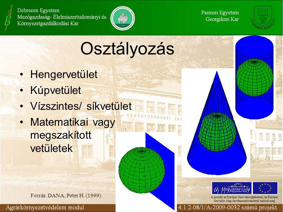 Osztályozás •Hengervetület •Kúpvetület •Vízszintes/ síkvetület •Matematikai vagy megszakított vetületek Forrás. DANA, Peter H. (1999)