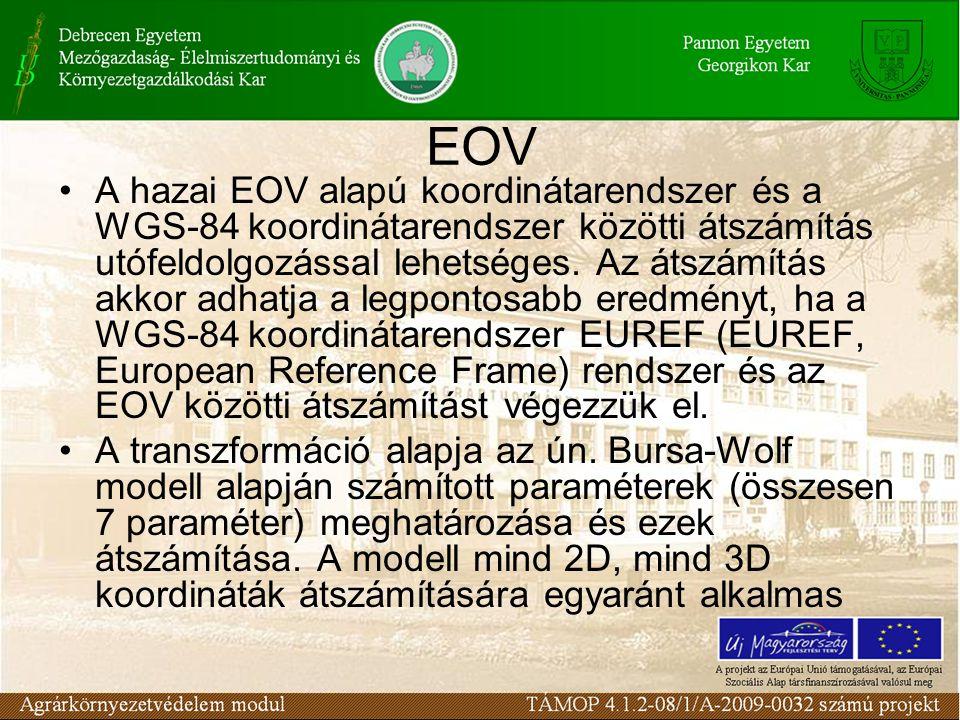 EOV •A hazai EOV alapú koordinátarendszer és a WGS-84 koordinátarendszer közötti átszámítás utófeldolgozással lehetséges. Az átszámítás akkor adhatja