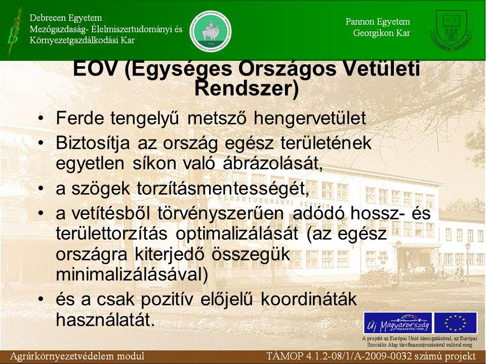 EOV (Egységes Országos Vetületi Rendszer) •Ferde tengelyű metsző hengervetület •Biztosítja az ország egész területének egyetlen síkon való ábrázolását
