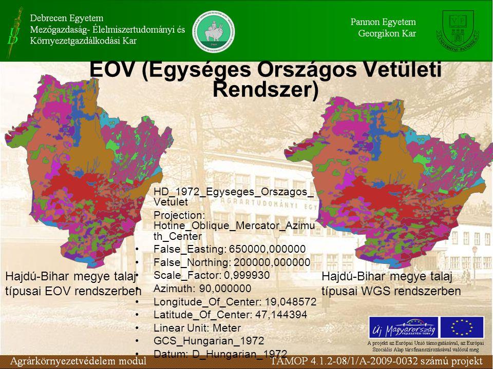 EOV (Egységes Országos Vetületi Rendszer) •HD_1972_Egyseges_Orszagos_ Vetulet •Projection: Hotine_Oblique_Mercator_Azimu th_Center •False_Easting: 650
