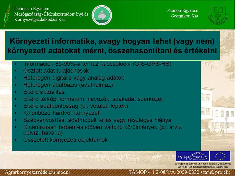 •Információk 85-95%-a térhez kapcsolódik (GIS-GPS-RS) •Osztott adat tulajdonosok •Heterogén digitális vagy analóg adatok •Heterogén adatbázis (adathal