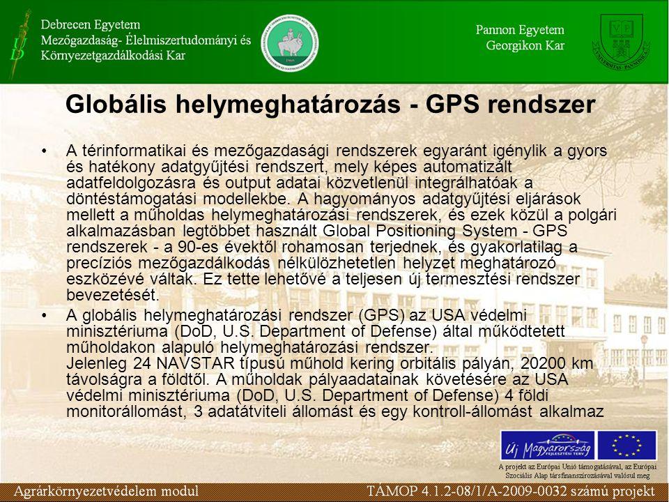 Globális helymeghatározás - GPS rendszer •A térinformatikai és mezőgazdasági rendszerek egyaránt igénylik a gyors és hatékony adatgyűjtési rendszert,