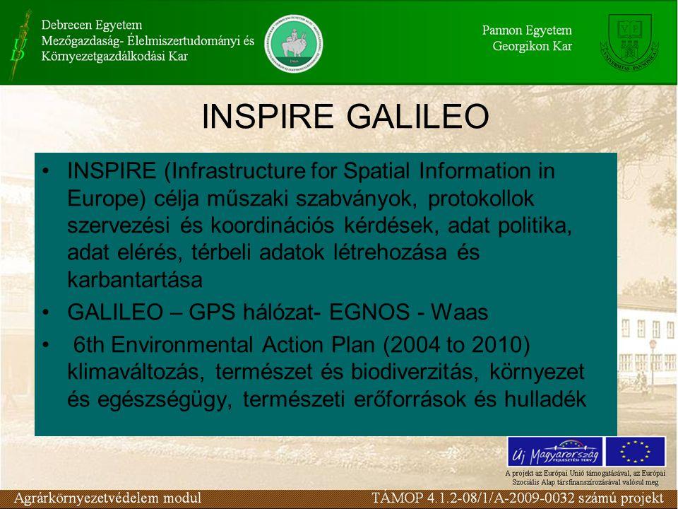 INSPIRE GALILEO •INSPIRE (Infrastructure for Spatial Information in Europe) célja műszaki szabványok, protokollok szervezési és koordinációs kérdések,