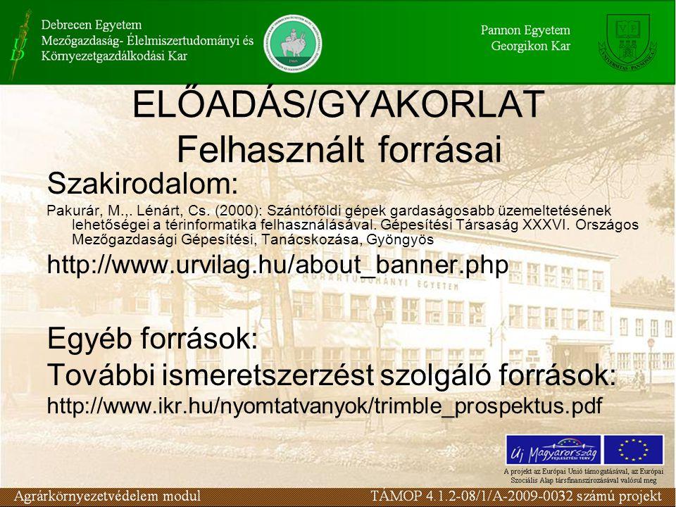 ELŐADÁS/GYAKORLAT Felhasznált forrásai Szakirodalom: Pakurár, M.,. Lénárt, Cs. (2000): Szántóföldi gépek gardaságosabb üzemeltetésének lehetőségei a t