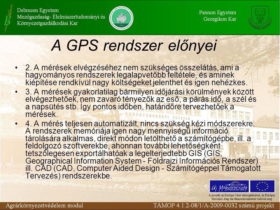 A GPS rendszer előnyei •2. A mérések elvégzéséhez nem szükséges összelátás, ami a hagyományos rendszerek legalapvetőbb feltétele, és aminek kiépítése