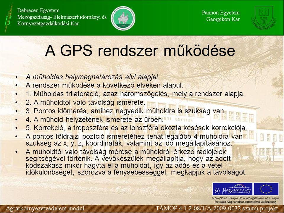 A GPS rendszer működése •A műholdas helymeghatározás elvi alapjai •A rendszer működése a következő elveken alapul: •1. Műholdas trilateráció, azaz hár