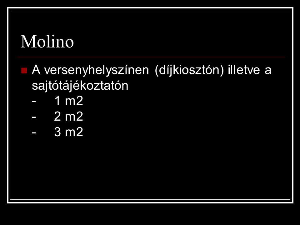 Molino  A versenyhelyszínen (díjkiosztón) illetve a sajtótájékoztatón - 1 m2 - 2 m2 - 3 m2