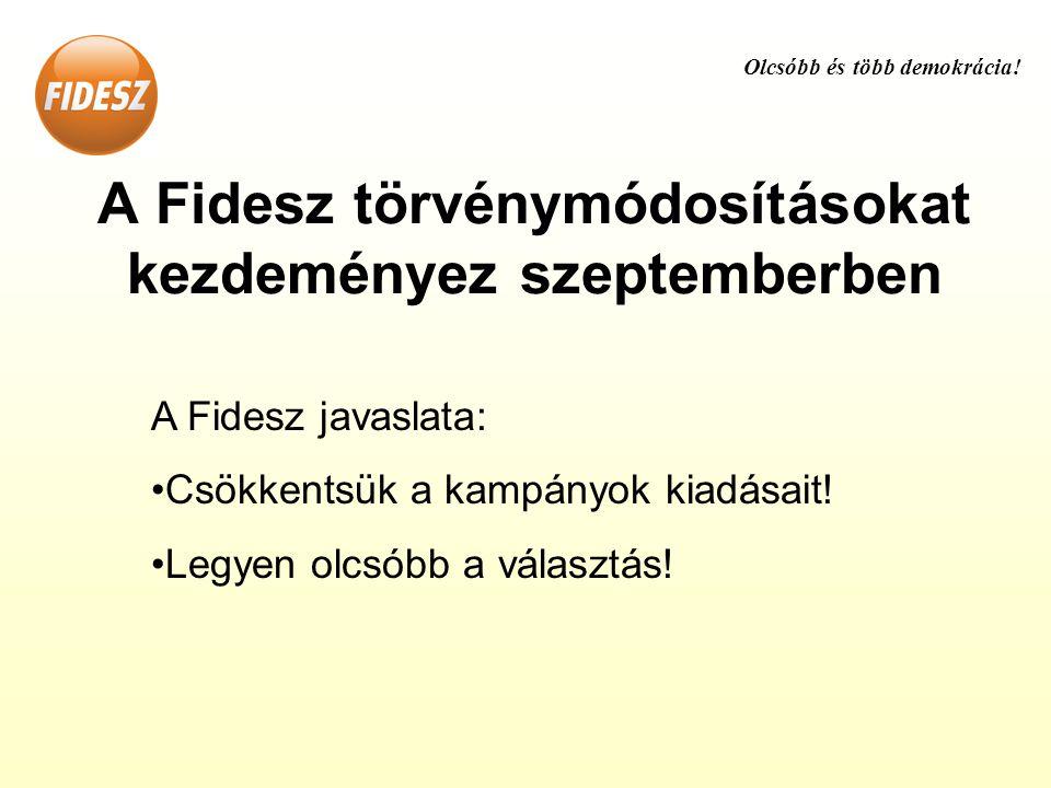A Fidesz törvénymódosításokat kezdeményez szeptemberben A Fidesz javaslata: •Csökkentsük a kampányok kiadásait.