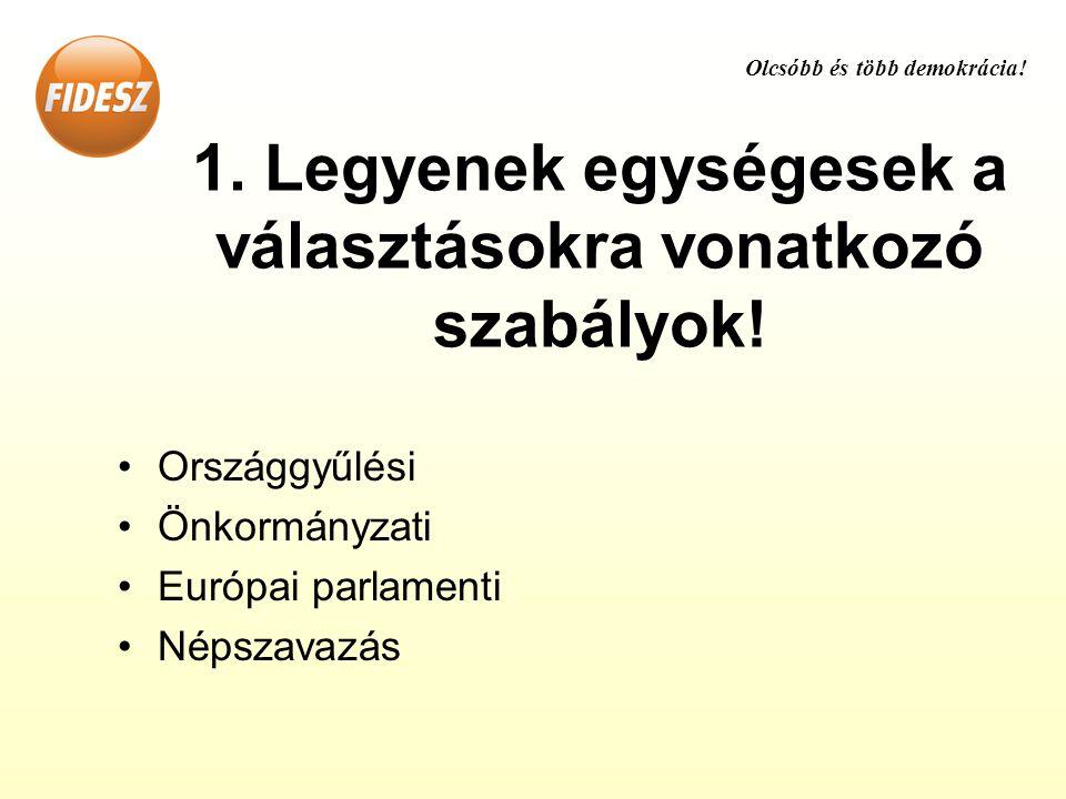 1. Legyenek egységesek a választásokra vonatkozó szabályok.