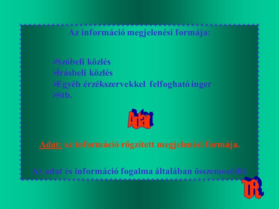 Az információ megjelenési formája:  Szóbeli közlés  Írásbeli közlés  Egyéb érzékszervekkel felfogható inger  Stb. Adat: az információ rögzített me