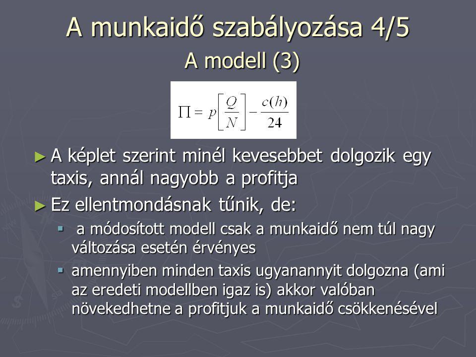 A munkaidő szabályozása 5/5 Játékelmélet ► Nézzük, milyen kifizetési mátrixszal szembesül a taxis, mikor eldönti, hogy mennyit dolgozzon: ► Látható, hogy míg mindenki jól járna, ha kevesebbet dolgoznának, egyedileg mindenkinek megéri egy kicsivel tovább dolgozni, így a mindenki számára rosszabb Nash egyensúly fog kialakulni Tovább dolgoznak Nem dolgoznak tovább Tovább dolgozik 1,99 ; 1,99 3 ; 1,9 Nem dolgozik tovább 1,33 ; 2,1 2 ; 2