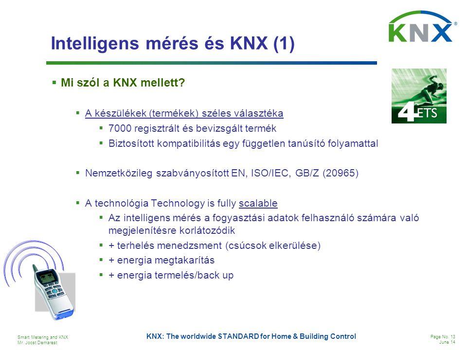 Smart Metering and KNX Mr. Joost Demarest Page No. 13 June 14 KNX: The worldwide STANDARD for Home & Building Control Intelligens mérés és KNX (1)  M