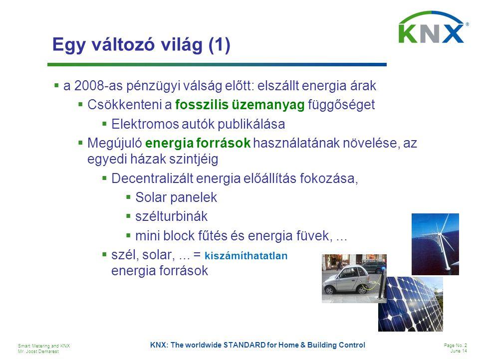 Smart Metering and KNX Mr. Joost Demarest Page No. 2 June 14 KNX: The worldwide STANDARD for Home & Building Control Egy változó világ (1)  a 2008-as