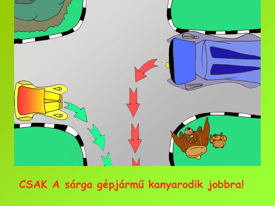 CSAK A sárga gépjármű kanyarodik jobbra!