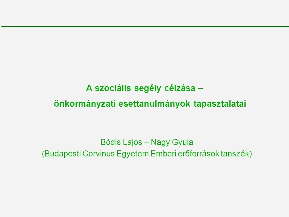 A szociális segély célzása – önkormányzati esettanulmányok tapasztalatai Bódis Lajos – Nagy Gyula (Budapesti Corvinus Egyetem Emberi erőforrások tansz