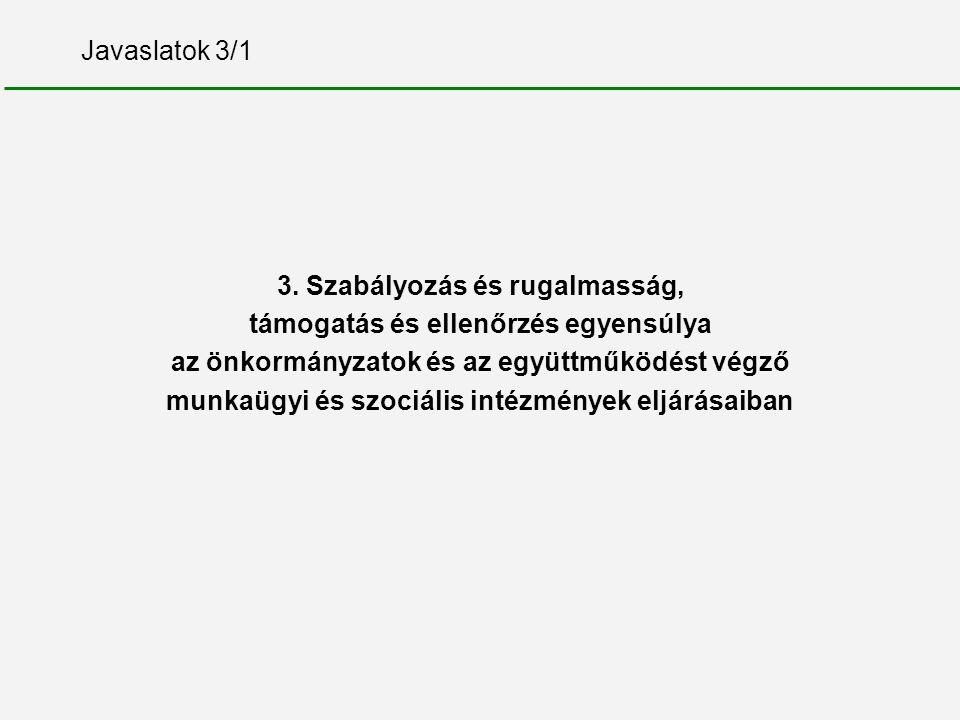 Javaslatok 3/1 3. Szabályozás és rugalmasság, támogatás és ellenőrzés egyensúlya az önkormányzatok és az együttműködést végző munkaügyi és szociális i
