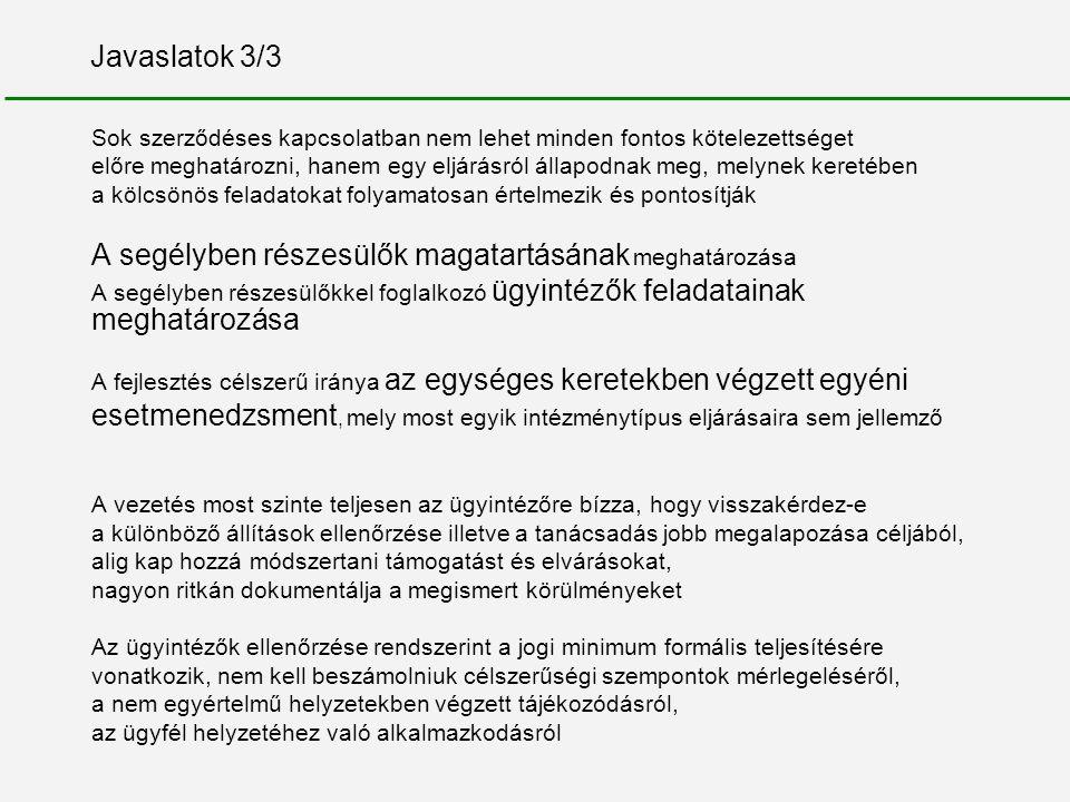 Javaslatok 3/3 Sok szerződéses kapcsolatban nem lehet minden fontos kötelezettséget előre meghatározni, hanem egy eljárásról állapodnak meg, melynek k