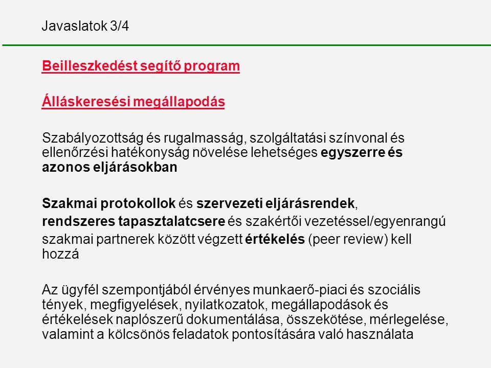Javaslatok 3/4 Beilleszkedést segítő program Álláskeresési megállapodás Szabályozottság és rugalmasság, szolgáltatási színvonal és ellenőrzési hatékon
