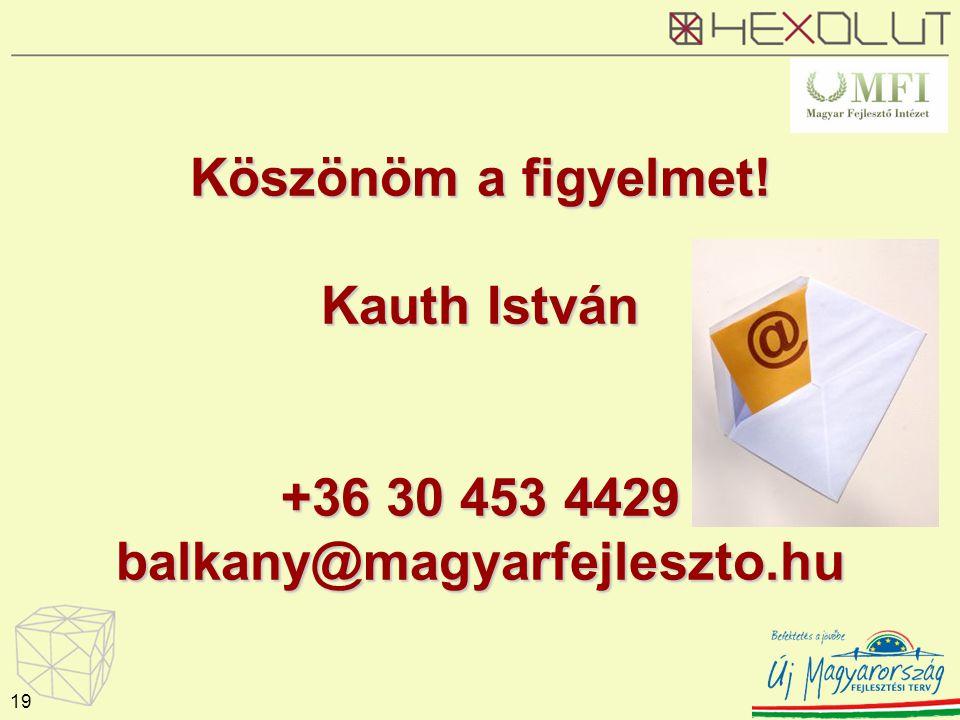 Köszönöm a figyelmet! Kauth István +36 30 453 4429 balkany@magyarfejleszto.hu 19