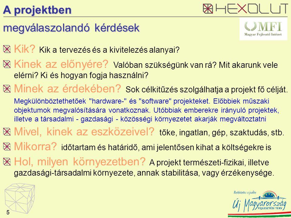 A projektben megválaszolandó kérdések Kik. Kik a tervezés és a kivitelezés alanyai.