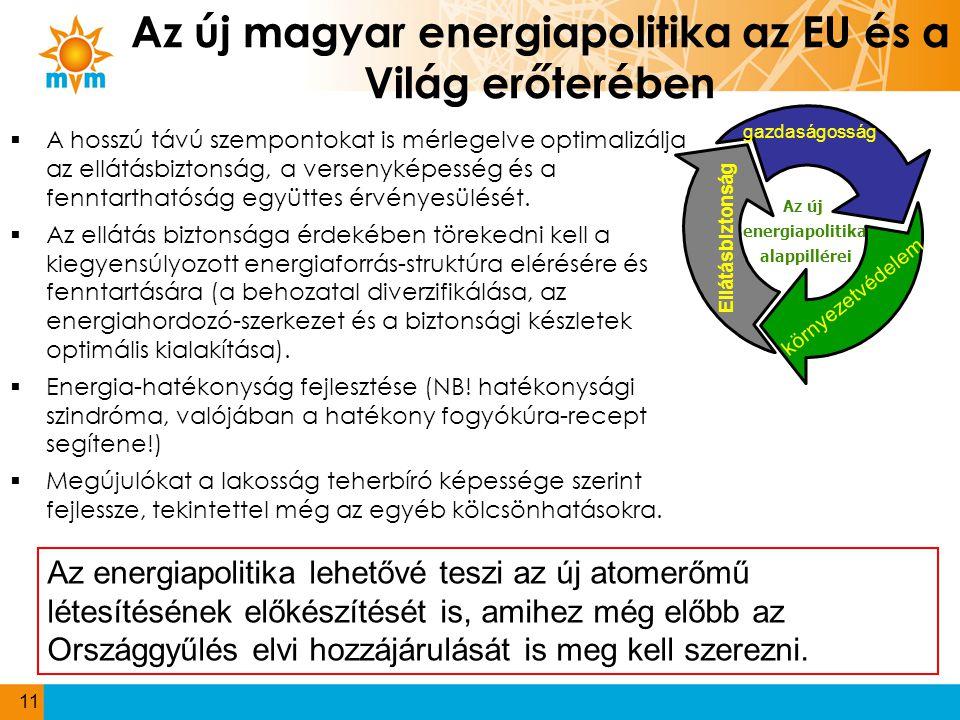 Az új magyar energiapolitika az EU és a Világ erőterében  A hosszú távú szempontokat is mérlegelve optimalizálja az ellátásbiztonság, a versenyképess
