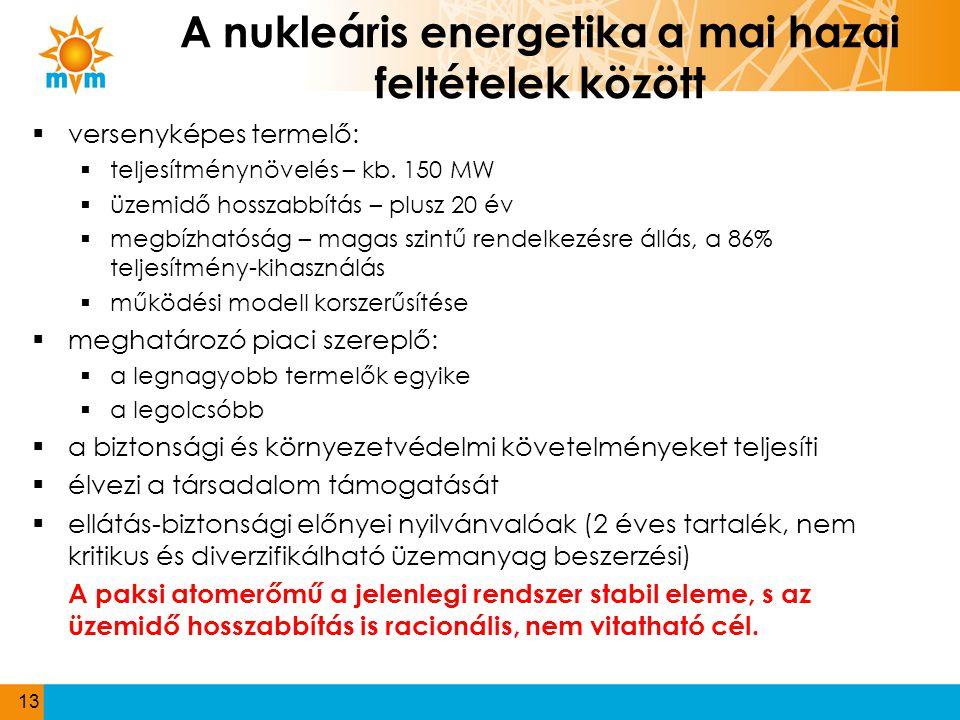 A nukleáris energetika a mai hazai feltételek között  versenyképes termelő:  teljesítménynövelés – kb. 150 MW  üzemidő hosszabbítás – plusz 20 év 
