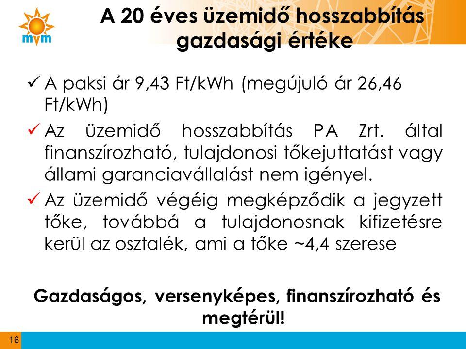 A 20 éves üzemidő hosszabbítás gazdasági értéke  A paksi ár 9,43 Ft/kWh (megújuló ár 26,46 Ft/kWh)  Az üzemidő hosszabbítás PA Zrt. által finanszíro