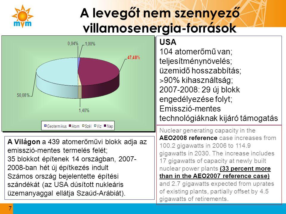 A levegőt nem szennyező villamosenergia-források 7 A Világon a 439 atomerőművi blokk adja az emisszió-mentes termelés felét; 35 blokkot építenek 14 or