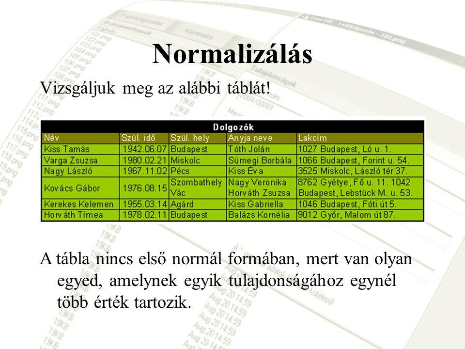 Normalizálás Vizsgáljuk meg az alábbi táblát! A tábla nincs első normál formában, mert van olyan egyed, amelynek egyik tulajdonságához egynél több ért