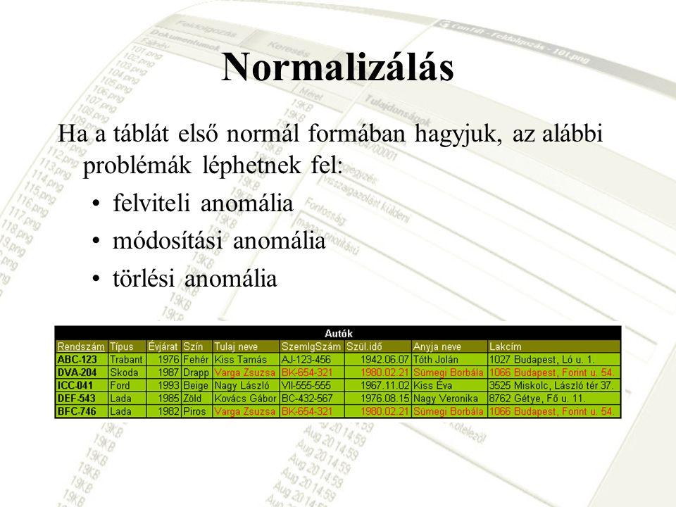 Normalizálás Ha a táblát első normál formában hagyjuk, az alábbi problémák léphetnek fel: •felviteli anomália •módosítási anomália •törlési anomália