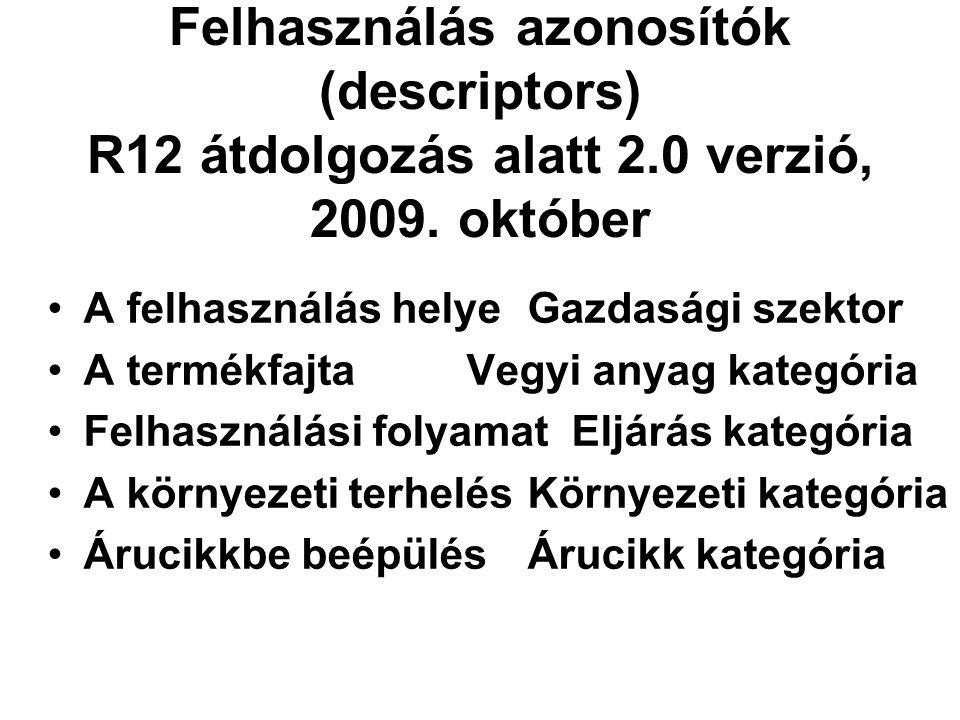 Felhasználás azonosítók (descriptors) R12 átdolgozás alatt 2.0 verzió, 2009. október •A felhasználás helyeGazdasági szektor •A termékfajta Vegyi anyag