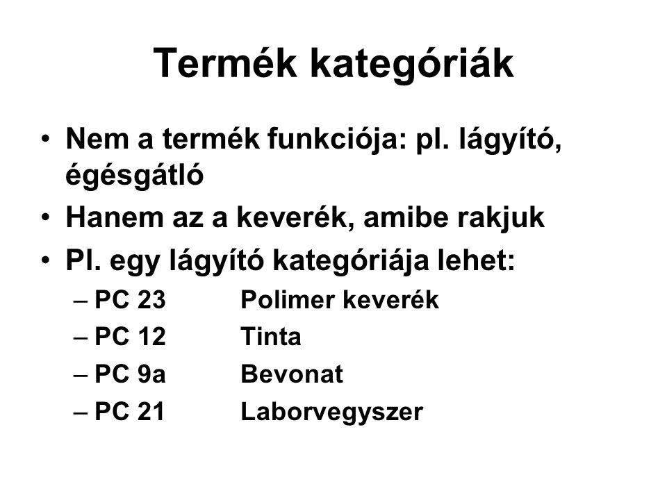 Termék kategóriák •Nem a termék funkciója: pl. lágyító, égésgátló •Hanem az a keverék, amibe rakjuk •Pl. egy lágyító kategóriája lehet: –PC 23 Polimer