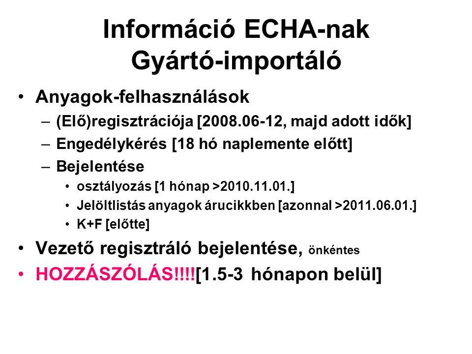 Információ ECHA-nak Gyártó-importáló •Anyagok-felhasználások –(Elő)regisztrációja [2008.06-12, majd adott idők] –Engedélykérés [18 hó naplemente előtt] –Bejelentése •osztályozás [1 hónap >2010.11.01.] •Jelöltlistás anyagok árucikkben [azonnal >2011.06.01.] •K+F [előtte] •Vezető regisztráló bejelentése, önkéntes •HOZZÁSZÓLÁS!!!![1.5-3 hónapon belül]