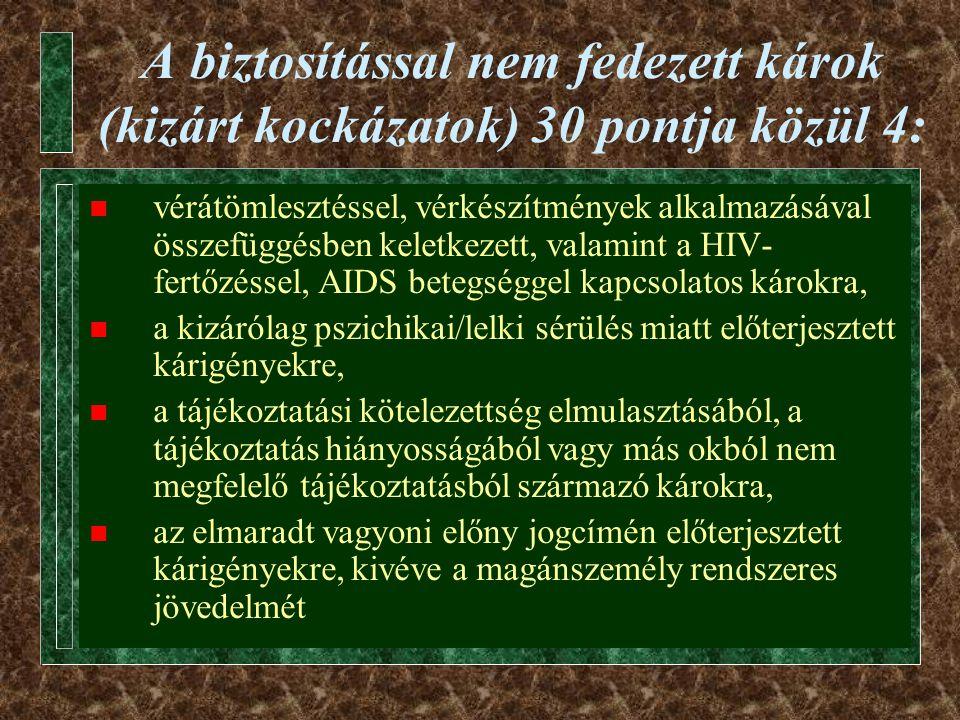 A biztosítással nem fedezett károk (kizárt kockázatok) 30 pontja közül 4:  vérátömlesztéssel, vérkészítmények alkalmazásával összefüggésben keletkezett, valamint a HIV- fertőzéssel, AIDS betegséggel kapcsolatos károkra,  a kizárólag pszichikai/lelki sérülés miatt előterjesztett kárigényekre,  a tájékoztatási kötelezettség elmulasztásából, a tájékoztatás hiányosságából vagy más okból nem megfelelő tájékoztatásból származó károkra,  az elmaradt vagyoni előny jogcímén előterjesztett kárigényekre, kivéve a magánszemély rendszeres jövedelmét