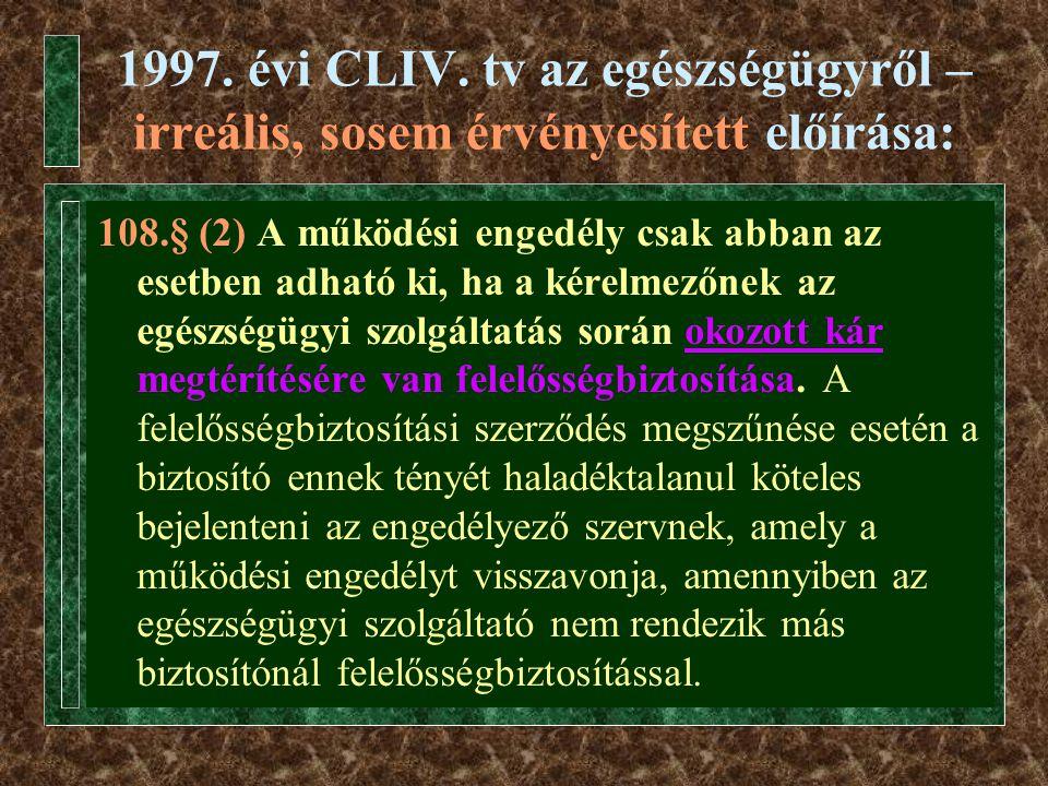 1997. évi CLIV. tv az egészségügyről – irreális, sosem érvényesített előírása: 108.§ (2) A működési engedély csak abban az esetben adható ki, ha a kér
