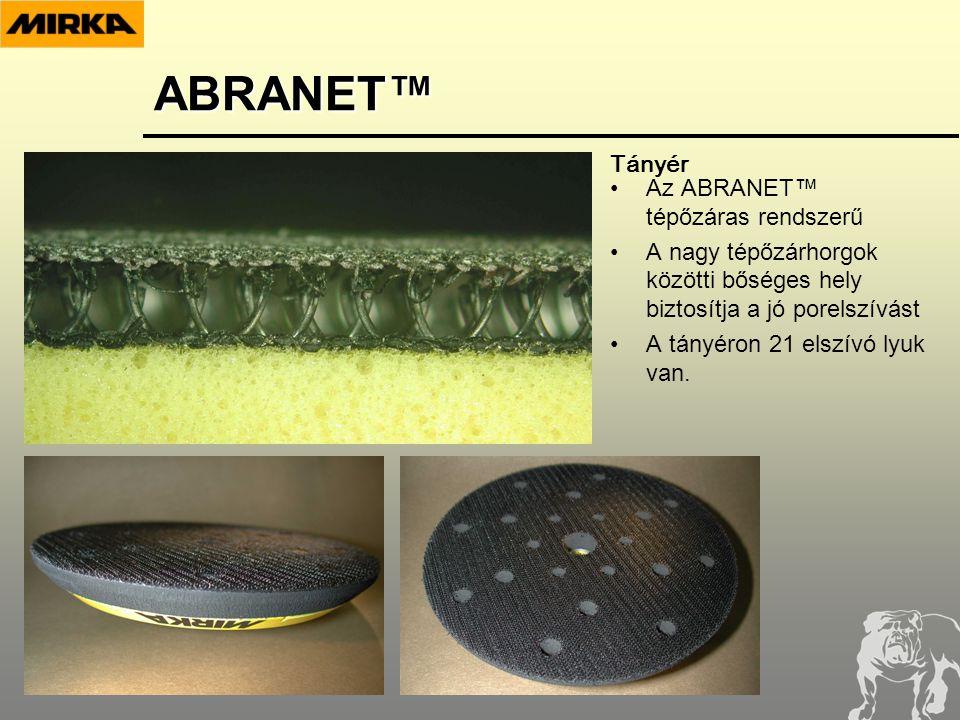 •Az ABRANET™ tépőzáras rendszerű •A nagy tépőzárhorgok közötti bőséges hely biztosítja a jó porelszívást •A tányéron 21 elszívó lyuk van.