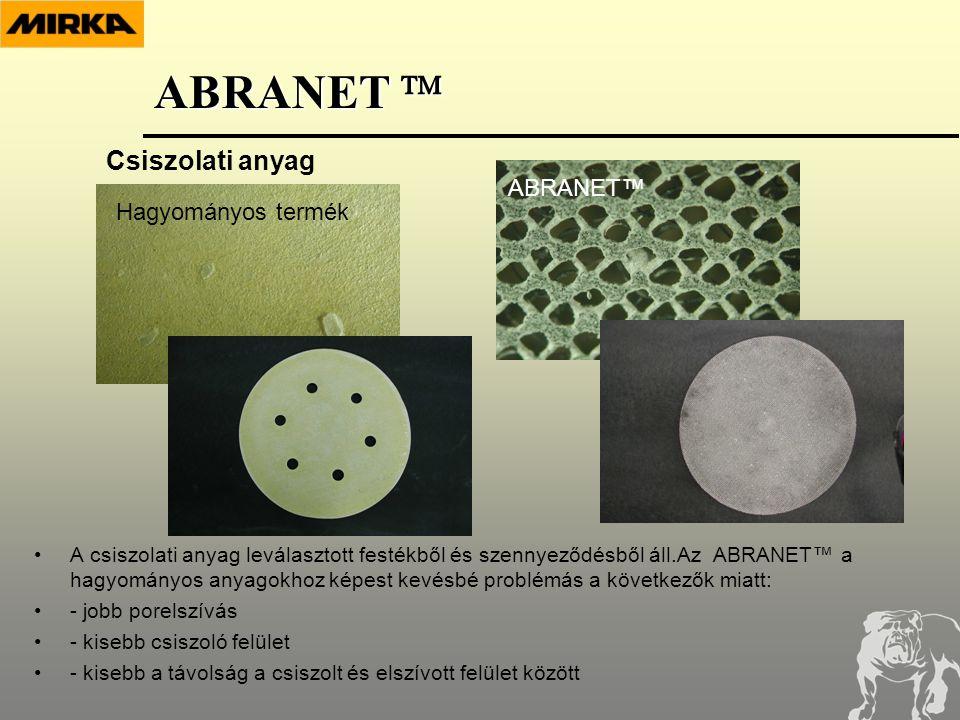•A csiszolati anyag leválasztott festékből és szennyeződésből áll.Az ABRANET™ a hagyományos anyagokhoz képest kevésbé problémás a következők miatt: •- jobb porelszívás •- kisebb csiszoló felület •- kisebb a távolság a csiszolt és elszívott felület között Csiszolati anyag ABRANET™ Hagyományos termék ABRANET 