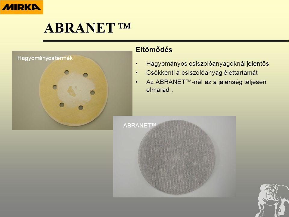 •Hagyományos csiszolóanyagoknál jelentős •Csökkenti a csiszolóanyag élettartamát •Az ABRANET™-nél ez a jelenség teljesen elmarad.