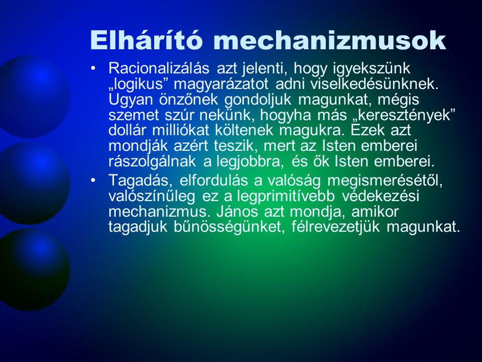 Elhárító mechanizmusok •Az általános pszichológia hallgatói gyakran tanulmányozzák az elhárító mechanizmusok listáját. A professzorok arról tanítanak,