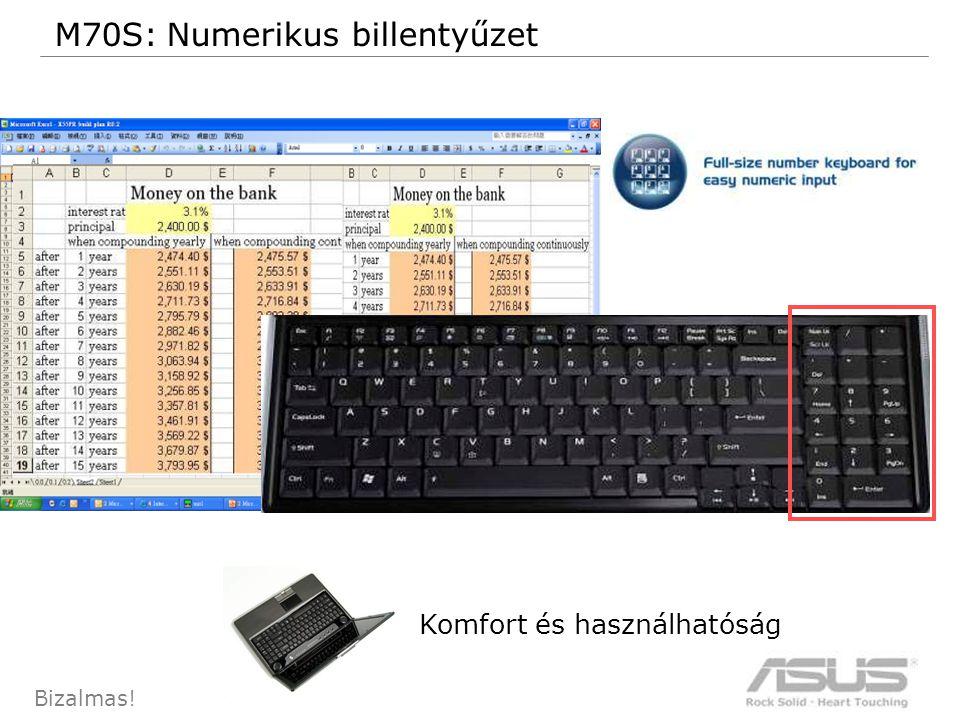 63 Bizalmas! M70S: Numerikus billentyűzet Komfort és használhatóság