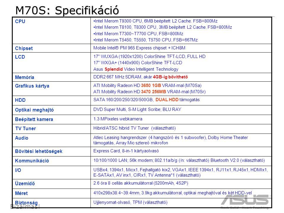 9 Bizalmas. CPU •Intel Merom T9300 CPU, 6MB beépített L2 Cache.