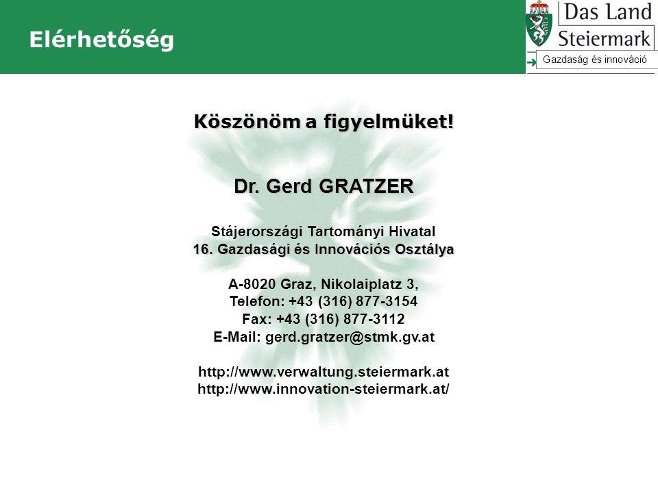 Elérhetőség Köszönöm a figyelmüket! Dr. Gerd GRATZER Stájerországi Tartományi Hivatal 16. Gazdasági és Innovációs Osztálya A-8020 Graz, Nikolaiplatz 3