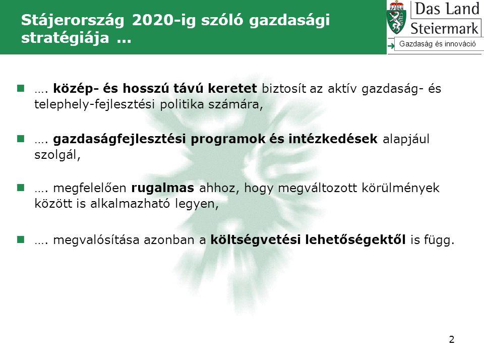 Stájerország 2020-ig szóló gazdasági stratégiája … 2  …. közép- és hosszú távú keretet biztosít az aktív gazdaság- és telephely-fejlesztési politika
