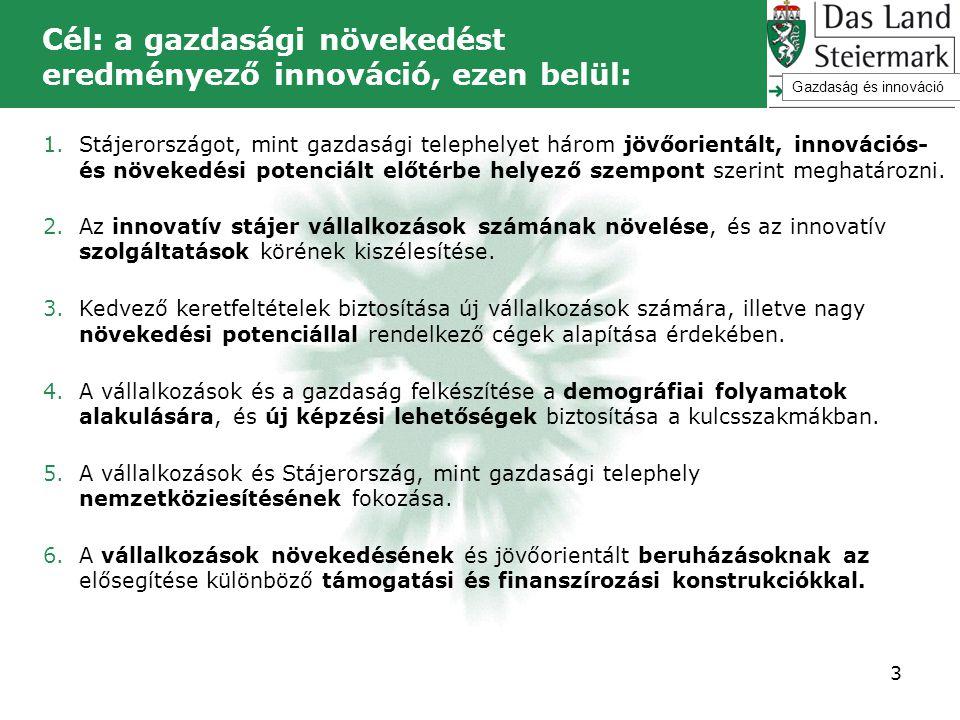 Cél: a gazdasági növekedést eredményező innováció, ezen belül: 1.Stájerországot, mint gazdasági telephelyet három jövőorientált, innovációs- és növeke
