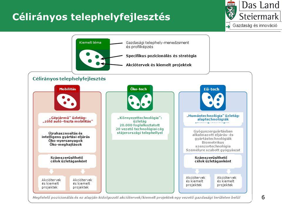 Célirányos telephelyfejlesztés 6 Gazdaság és innováció Kiemelt téma Gazdasági telephely-menedzsment és profilképzés Specifikus pozicionálás és stratég