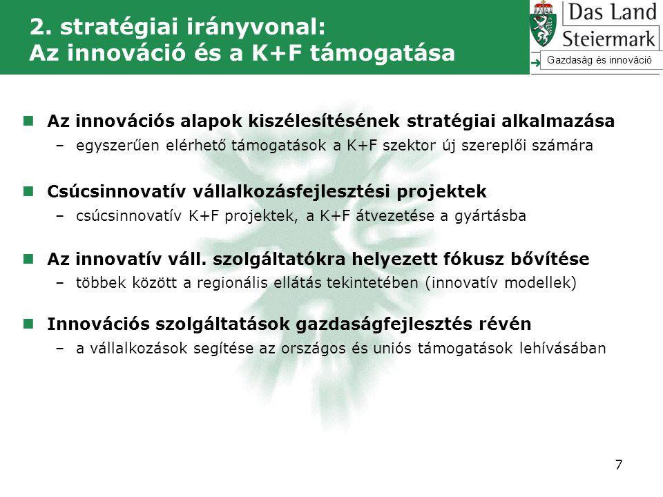  Az innovációs alapok kiszélesítésének stratégiai alkalmazása –egyszerűen elérhető támogatások a K+F szektor új szereplői számára  Csúcsinnovatív vá