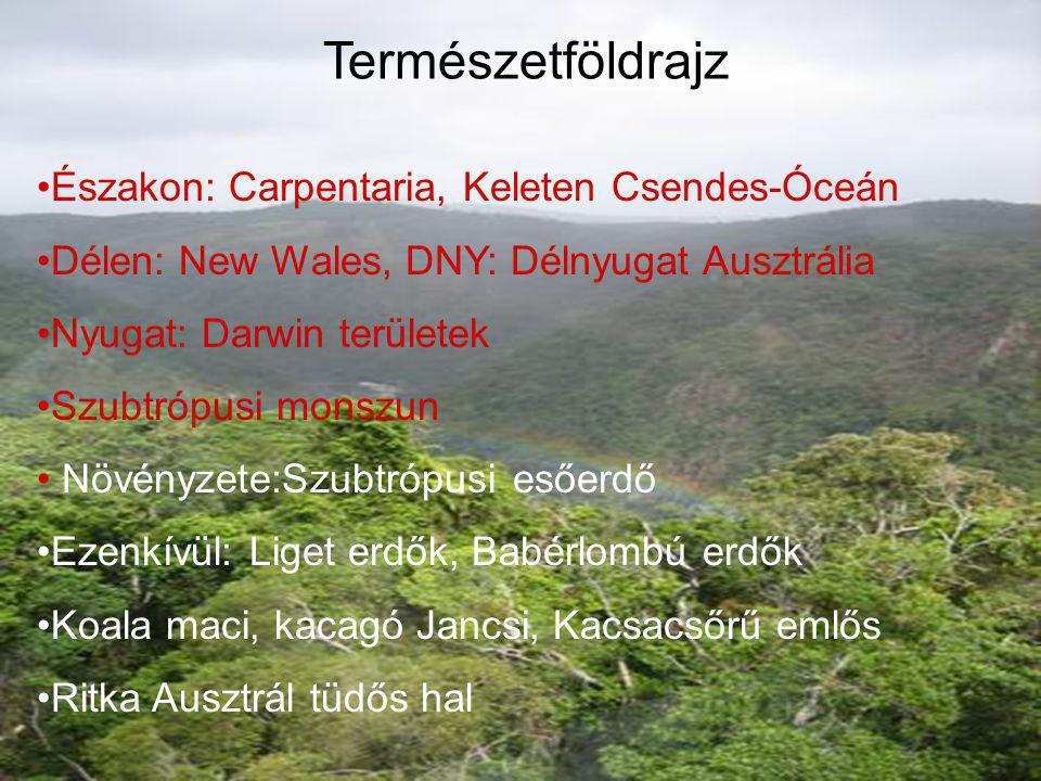 Természetföldrajz •Északon: Carpentaria, Keleten Csendes-Óceán •Délen: New Wales, DNY: Délnyugat Ausztr. •Nyugat: Darwin területek •Szubtrópusi monszu