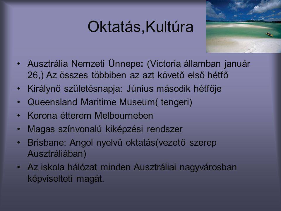 Oktatás,Kultúra •Ausztrália Nemzeti Ünnepe: (Victoria államban január 26,) Az összes többiben az azt követő első hétfő •Királynő születésnapja: Június
