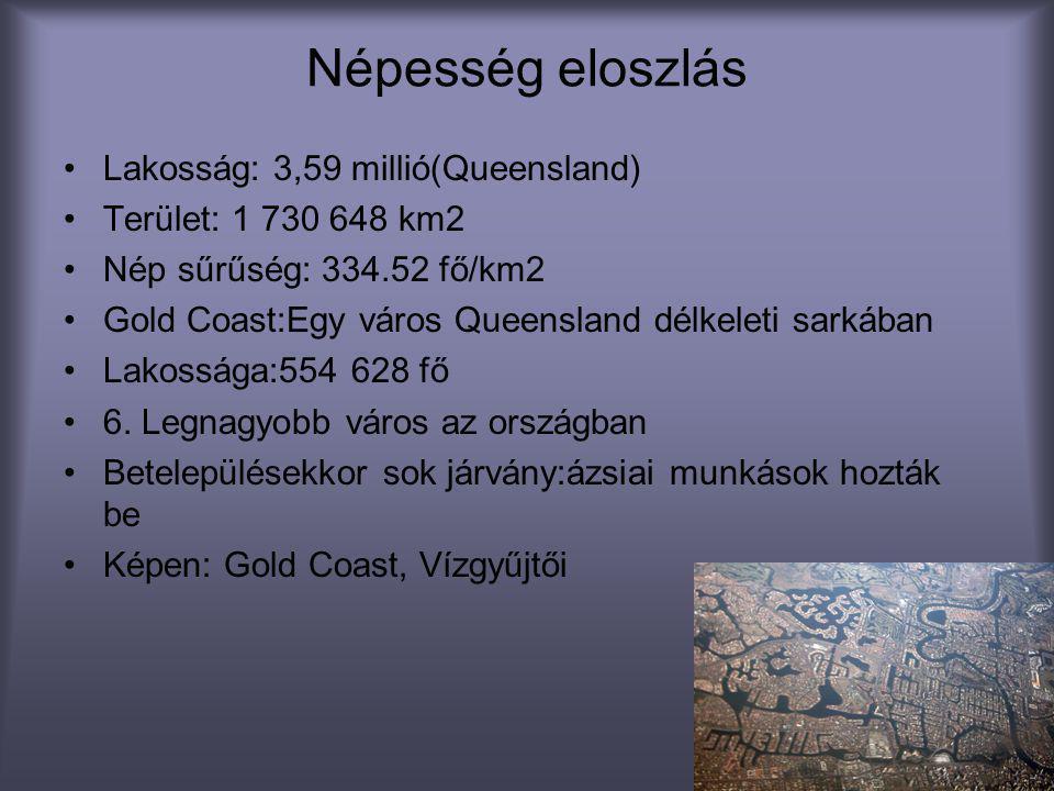 Népesség eloszlás •Lakosság: 3,59 millió(Queensland) •Terület: 1 730 648 km2 •Nép sűrűség: 334.52 fő/km2 •Gold Coast:Egy város Queensland délkeleti sa